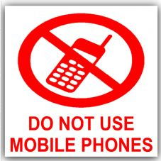 1 x Do Not Use Mobile Phones-Red on White,External Self Adhesive Warning Stickers-Health and Safety Signs